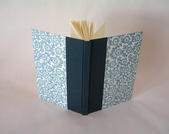Address book large - 6x8.5 in 15x22cm - navy with blue flower and vine stencil print - Ready to ship
