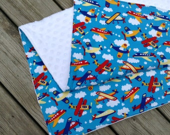 "Baby Boy Blanket White Minky with Bright Airplane Print Cotton 29""x36"""