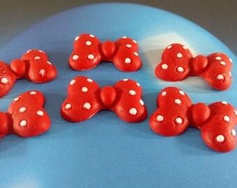 Fondant Bows-Minnie Mouse Bows-Edible Bows-Polka Dot Bows-Bow Cupcake Toppers-Large Fondant Bows