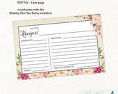 Shabby Chic Floral Recipe Card - Bridal Shower | flower, boho, shabby chic |  Instant Download