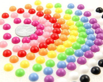 Candy Resin Cabochons - 8mm Tiny Candy Mixed Flatback Resin Cabochons - 600 pc set