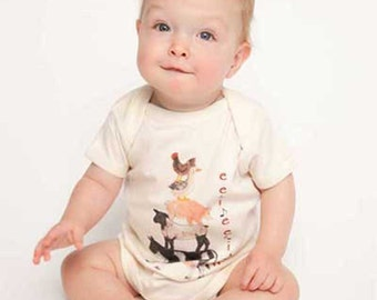 Barnyard One Piece  Baby Rompers Farm Animals  ee ii ee ii OH by Mumsy Goose Newborn to Toddler  Tees in 6M to 6X