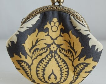 Damask Coin Purse Change Pouch with Metal Kiss Lock Clasp Frame - READY TO SHIP