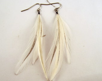 small white feather earrings natural cruelty free