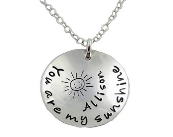 You are my sunshine Hand Stamped sterling silver necklace with name