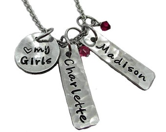 Love my Girls Charm Necklace - Hand Stamped Fine Pewter