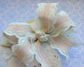 Shabby Chic Burlap and Light Mint Lace XL Diva Bow