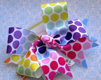 Rainbow Ombre Bubble Gum Dots XL Diva Bow