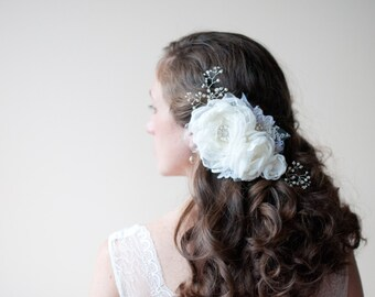 Bridal floral hair piece Pearl crystal spray, Large flowers, Dramatic ivory fabric flower and rhinestone wedding hair, wire wrapped beaded