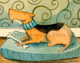 ACEO Print -- Happy Airedale