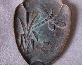 Vintage Bronze Art Nouveau Style Tray with Dragonfly