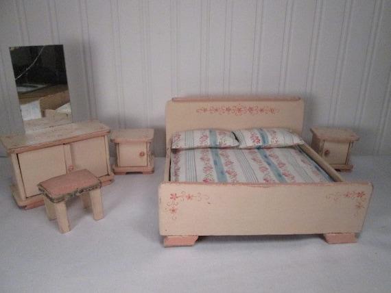 Vintage German Dollhouse Miniature Furniture Five Piece