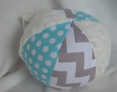 Turquoise and Gray Chevron Jingle Ball Baby Toy with Minky