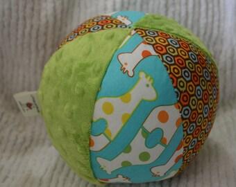 "Baby Toy GIRAFFE Cloth Jingle Ball LARGE 7"" Savanna Bop fabric"