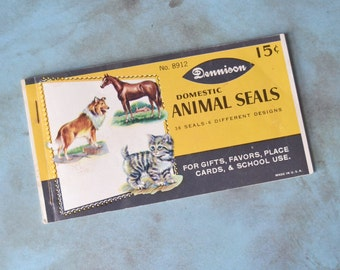 36 Vintage Dennison Domestic Animal Seals Seals Full Book