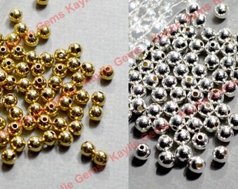 500pcs Brass bead spacer 3mm Smooth Round seamless Raw, Silver plated