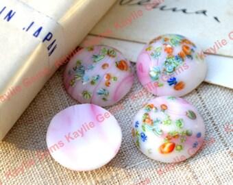 Vintage Japan Glass Cabochon Cab 18mm Round Flower Floral Pink Opaque White Millefiori-BIN2 - 2pcs