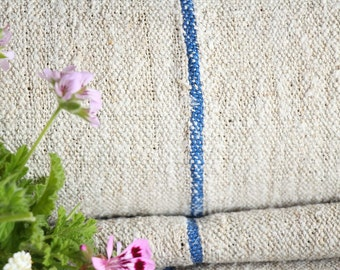 R 418 antique SKY BLUE 9.837 y lin upholstery fabric tablerunner cushion 22.83wide wedding decor french lin