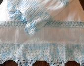 White Sateen Pillowcases, with Wide Filet Blue Crocheted Edging and Matching Insert