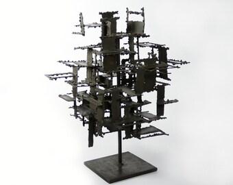 Brutalist Torch Cut Steel Modernist Sculpture by Daniel Gluck 1960's
