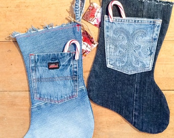 Custom Made To Order DENIM Christmas STOCKING from Upcycled Blue Jeans