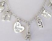 Paris charm bracelet, Paris necklace, France bracelet, Paris bracelet, travel bracelet, Eiffel Tower, travel charm bracelet, love travel