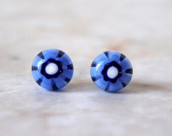 Blue Flower Fused Glass Post Earrings