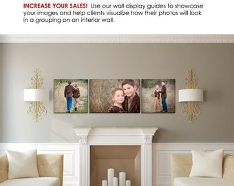 Photography Wall Display Guide - Modern White Sitting Room - (3) Photoshop Layered .psd Templates with Sitting Room backdrop & image display