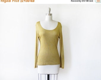 5O% OFF SALE metallic gold shirt, vintage 80s gold lurex top, small sparkly gold top