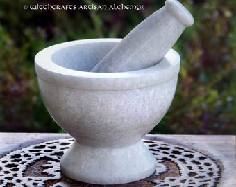 "WHITE GODDESS Marble Stone Mortar & Pestle - 5""D - Crafting Herb Spice Incense Grinding Preparation Tool, Kitchen Witchery, Witchcraft"