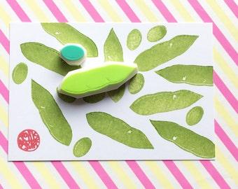 edamame rubber stamp set - bean and pod hand carved rubber stamps - vegetable garden stamp - cooking stamp - spring crafts - set of 2