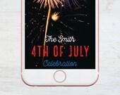 Custom Snapchat Geofilter, 4th of July, Fourth of July, Social Media Snap Filter