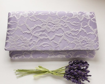 Lavender Clutch, Satin Clutch, Lace Wedding Clutch, Pale Purple Clutch, Bridesmaid Clutch, Purple and White Clutch, Personalized Clutch