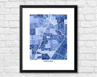 Santa Ana Map Print.  You choose the colors and size.  California Hostess Gift.  CA Local Art.