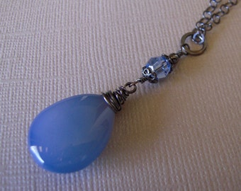 Blue Chalcedony Necklace, Sterling Silver Chain, Blue Pendant, Hand Made Necklace Smooth Chalcedony