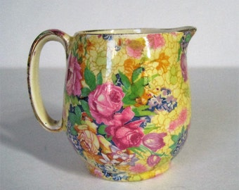 1930's Vintage Chintz Creamer Royal Winton Grimswade, Welbeck Pattern Yellow Floral Gold Trim, Made In England China, Countess Cream Pitcher