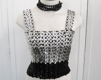 70s Sequin Tube Top With Shoulder Straps Vintage, 3 Color Ombre Black Silver White, Fully Sequined Shiny Disco Party Top, Bust Up To 34-36