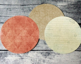 2 Inch Round Tags Images - Vintage Paper - Digital Collage Sheet