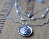 Sterling Pearl Necklace, Oxidised, Sterling Silver Gemstone Layering Necklace - Cascade Necklace in Pearl