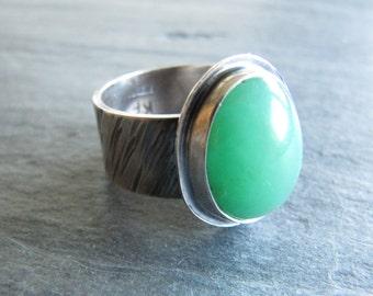 Ring of Gemmy Chyrsoprase in Sterling Silver