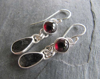 Earrings of Garnet an Tourmalated Quarts in Sterling Silver