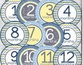 MONTHLY IRON-ONS Decals or Monthly stickers - 12 Monthly decals - for Baby boy - Yellow, Blue and Grey (Style#B15)