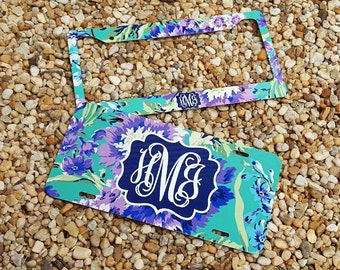 NEW! Floral Monogram License Plate Frame - Amy Butler Inspired - Monogram Car Tag Front License Plate Personalized Plate
