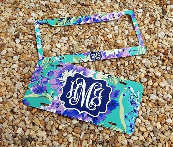 new floral monogram license plate frame amy butler inspired