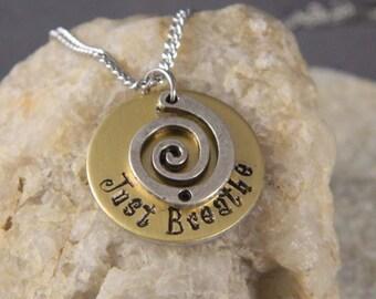 Just Breathe Gold Aluminum Inspirational Necklace