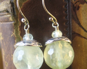 Prehnite Earrings, Green Gemstone Earrings, Pale Green Earrings, Dangle Earings