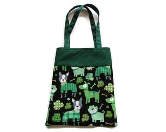 Fabric Gift/Goodie Bag - St. Patricks Day Dogs