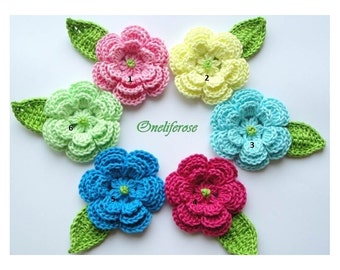 Crochet Flower 1 pieces with 1 leaf