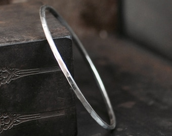 bangle bracelet hammer forged sterling silver simple