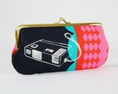 Eyeglass frame purse - Retro cameras on navy - Long purse / Eyeglass fabric case / Cell phone holder / Melody Miller / Turquoise red pink